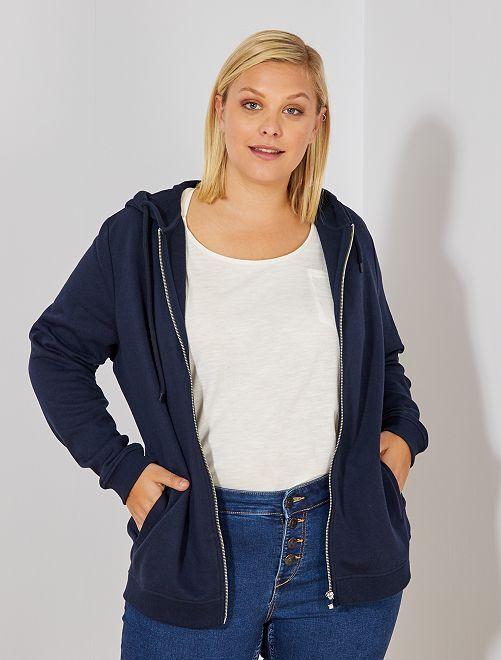 Gilet zippé avec capuche                                                                             bleu marine Grande taille femme