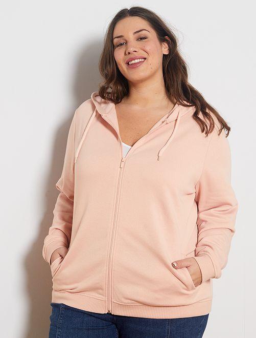 Gilet zippé avec capuche                                                     rose