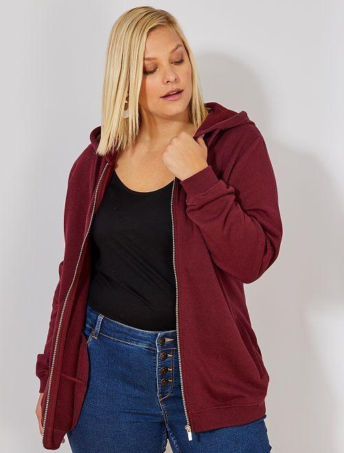 Gilet zippé avec capuche                                                                             rouge bordeaux Grande taille femme