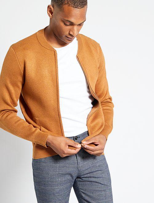 Gilet zippé en maille                                                     marron