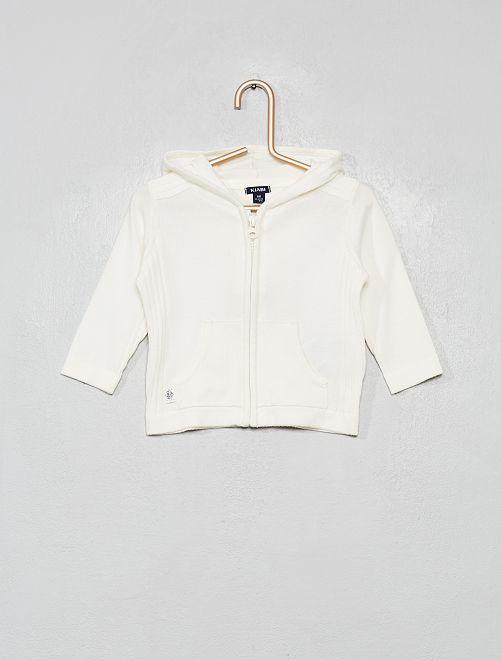 Gilet zippé en tricot avec capuche                                                     blanc