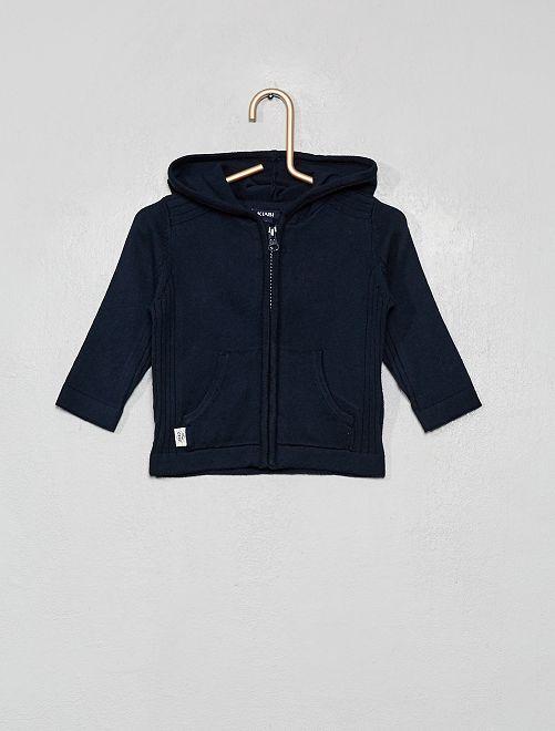 Gilet zippé en tricot avec capuche                                                     bleu marine