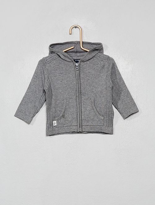 Gilet zippé en tricot avec capuche                                                     gris