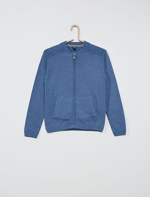 Gilet zippé pur coton                                                     bleu