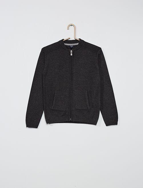 Gilet zippé pur coton                                                     gris