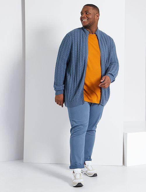 Gilet zippé torsadé                                         bleu gris