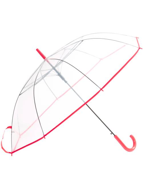 Grand parapluie transparent                     rouge