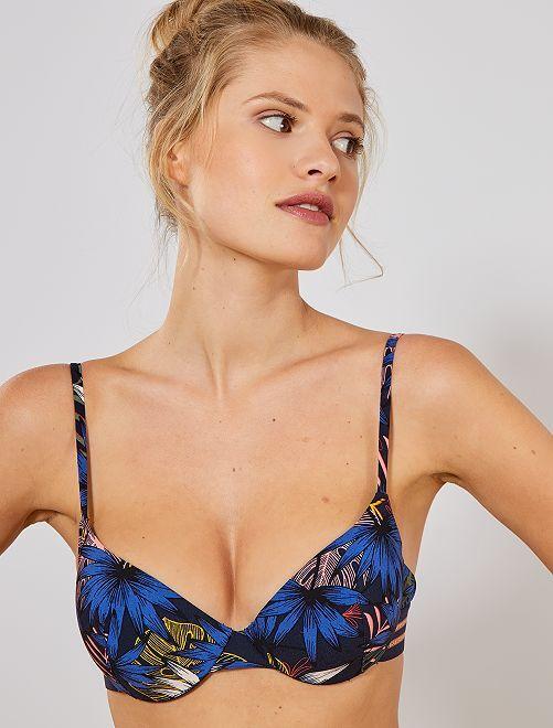 Haut de maillot de bain à armatures                             bleu foncé