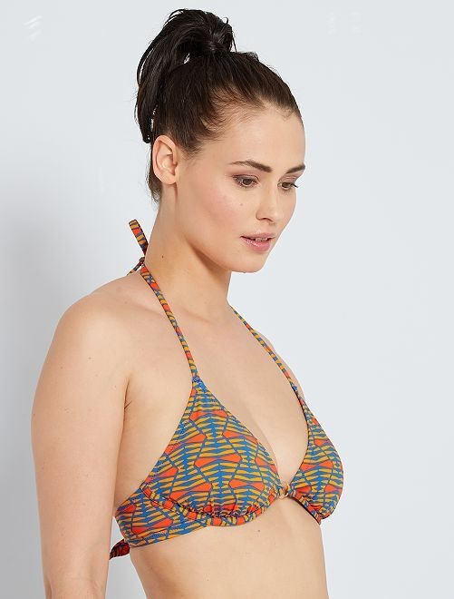 Haut de maillot de bain triangle à armatures                             bleu/orange