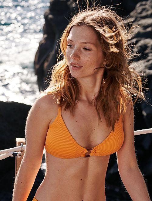 Haut de maillot de bain triangle                                 abricot