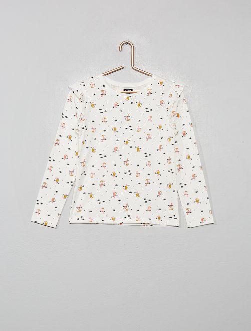 Haut de pyjama à volants                                         blanc/imprimé