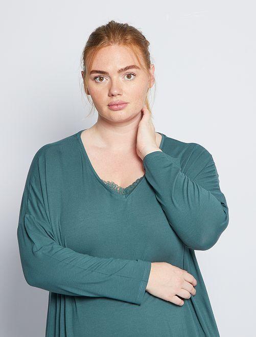 Haut de pyjama détail dentelle                                         vert