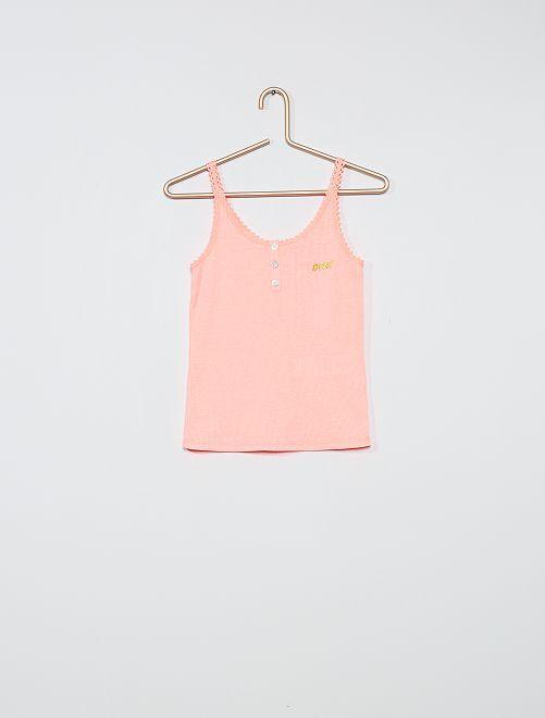 Haut de pyjama en côte                                         rose fluo