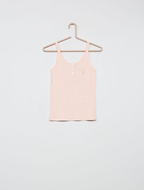 Haut de pyjama en côte                                         rose pâle