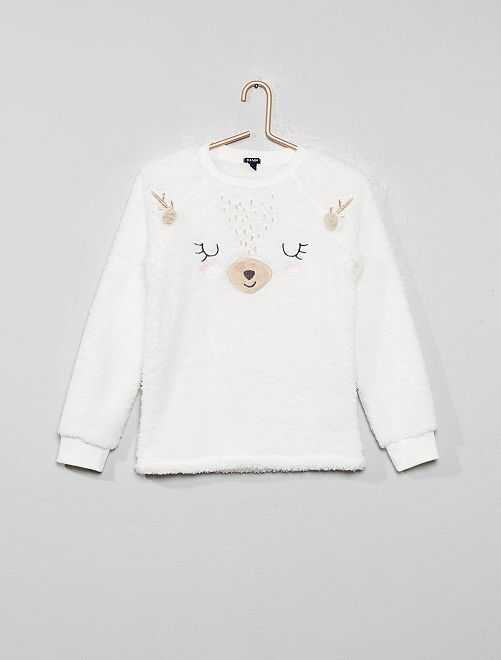 Haut de pyjama en fausse fourrure                                         blanc