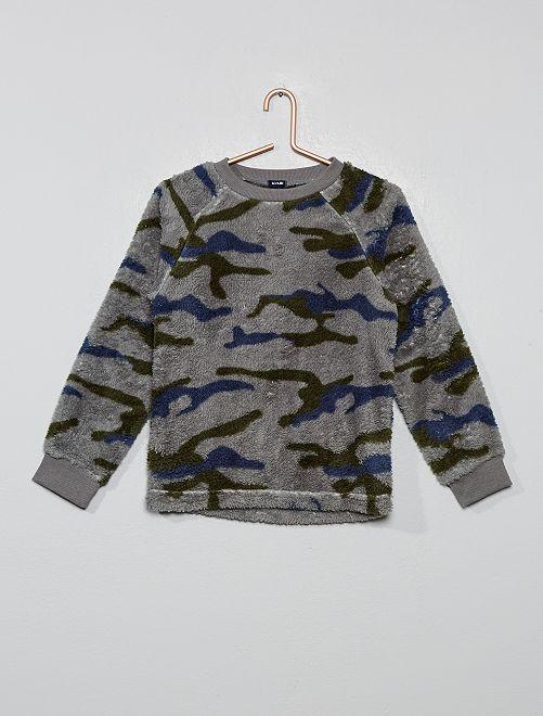 Haut de pyjama en fausse fourrure                                         camouflage