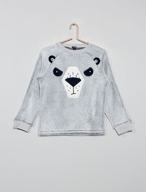 Haut de pyjama en fausse fourrure                                         gris