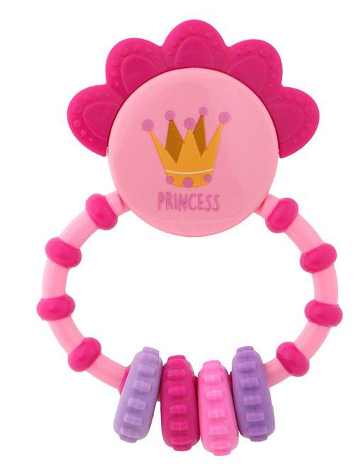 Hochet avec anneau de dentition 'Princesse'                                         rose