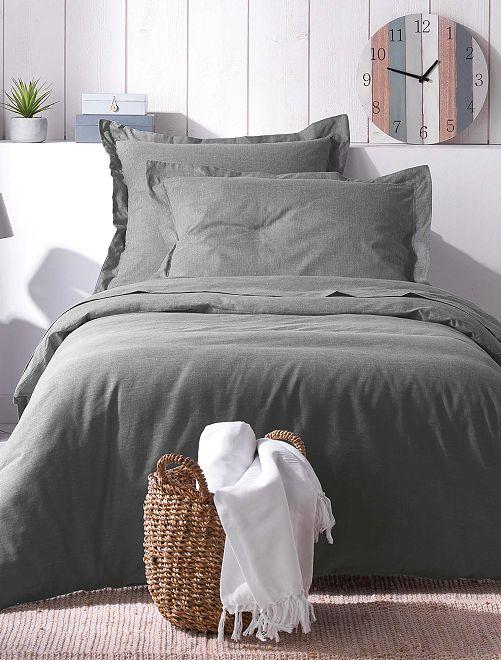 Housse de couette 1 ou 2 personnes effet chambray                             gris Linge de lit