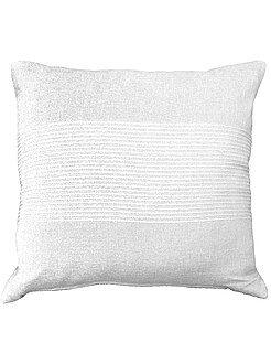 Déco textile - Housse de coussin coton brodé - Kiabi
