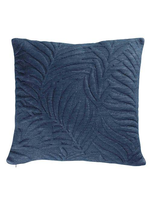 Housse de coussin 'feuillage' relief                                         bleu Linge de lit