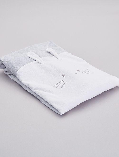 Housse de matelas à langer 'Lapin'                             gris/blanc