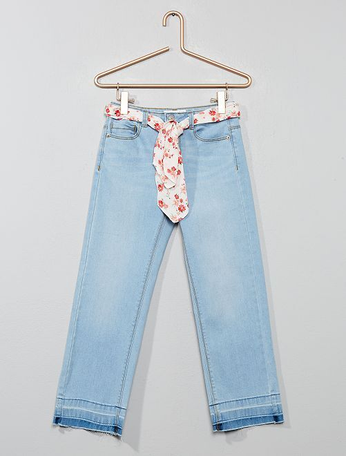 Jean 7/8ème+ ceinture fleurs                             bleached