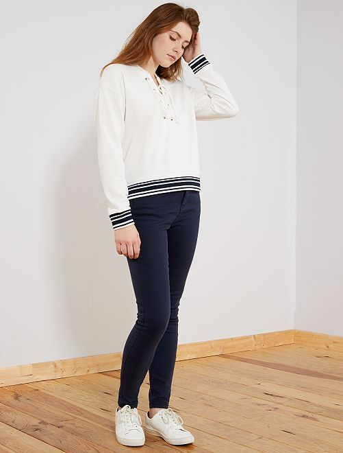 Jean coloré skinny 5 poches effet push up                                         bleu Femme
