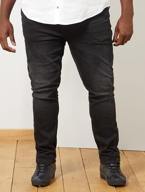 Jean fitted stretch                             noir Grande taille homme