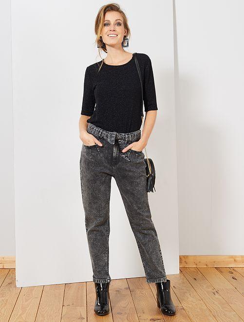 Jean large avec ceinture                                                     noir neige
