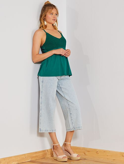 Jean large coupe cropped                                         BLEU Femme