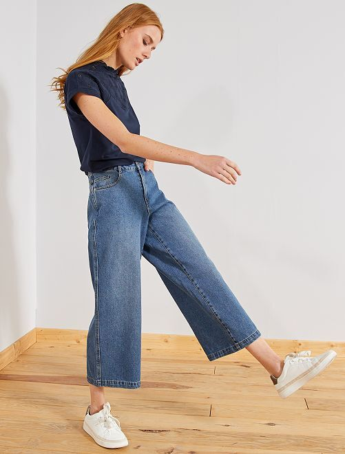 Jean large coupe cropped                                         bleu stone Femme