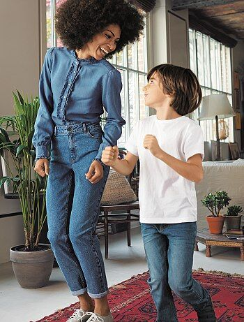 jean mom taille tr s haute stone femme kiabi. Black Bedroom Furniture Sets. Home Design Ideas