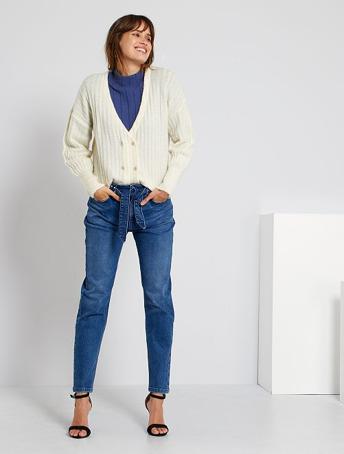 Jean mom avec ceinture                                                     bleu