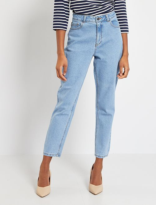Jean mom taille très haute                                         stone Femme