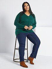Jean regular en denim stretch longueur 75 cm