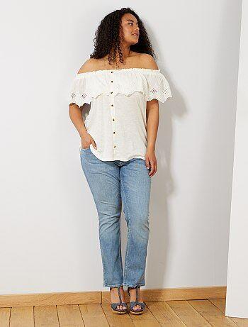 Grande taille femme - Jean regular en denim stretch longueur 75 cm - Kiabi