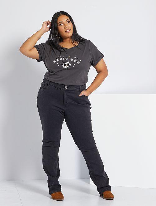 Jean regular en denim stretch longueur 82 cm                                                                 denim black