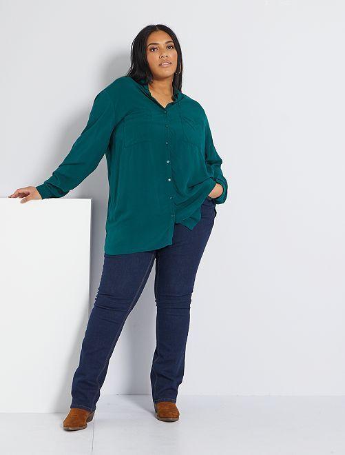 Jean regular en denim stretch longueur 82 cm                                             rinse