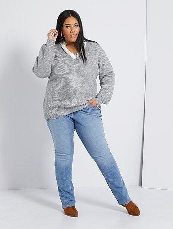 Grande taille femme - Jean regular en denim stretch longueur 82 cm - Kiabi