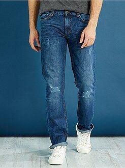 Denim - Jean regular pur coton abrasions légères
