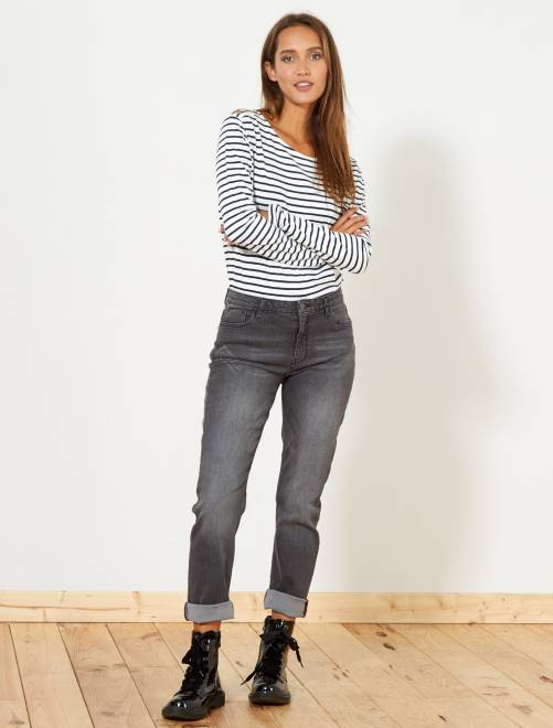 Jean regular taille haute                                                     gris foncé Femme