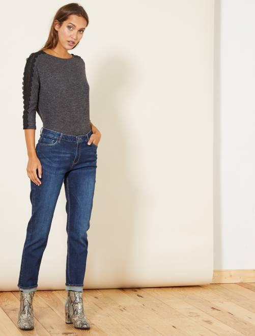 Jean regular taille haute                                                     rince Femme