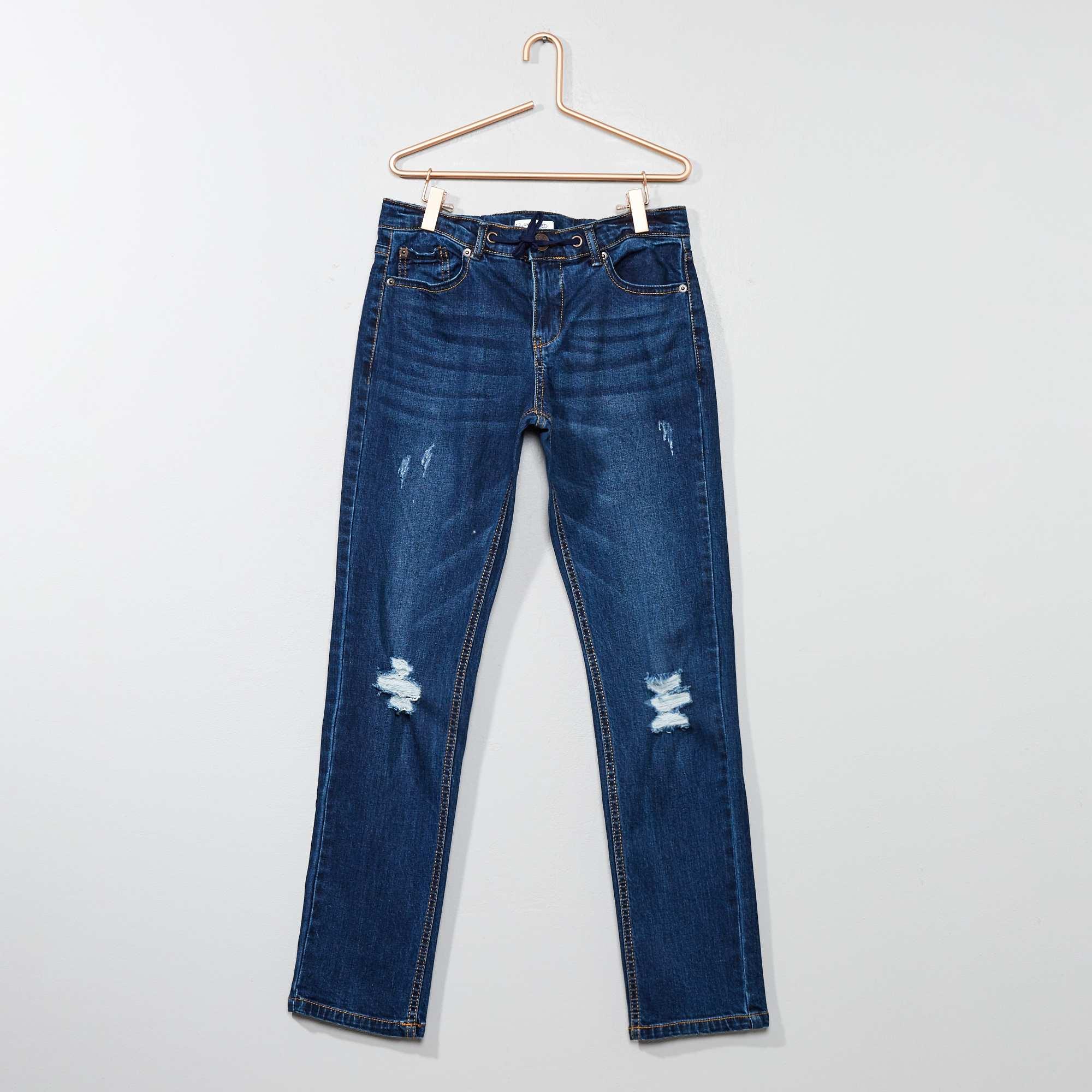 Couleur : gris, brut, stone,, - Taille : 12A, XS, S,,Un jean à abrasions à la coupe des plus confortables ! - Jean relaxed fit - En coton