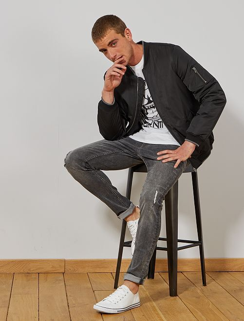 Jean skinny à abrasions                                         gris
