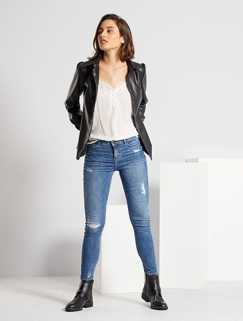 Jean skinny à abrasions taille très haute                                         bleu Femme