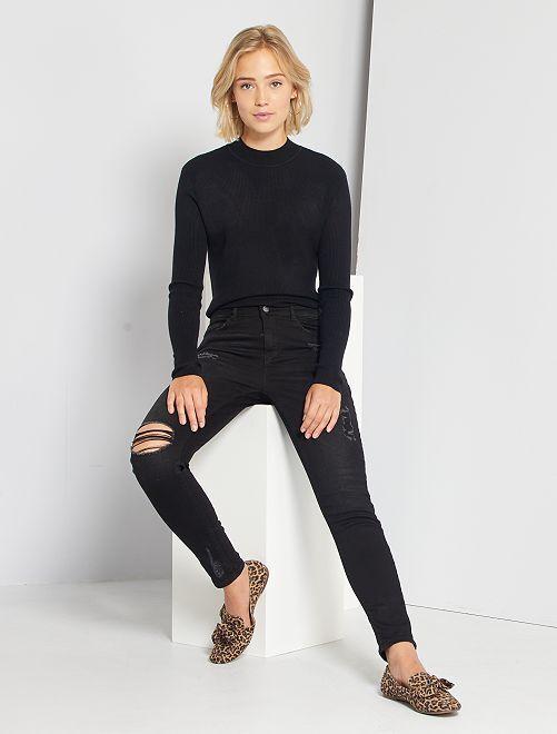 Jean skinny à abrasions taille très haute                                         noir