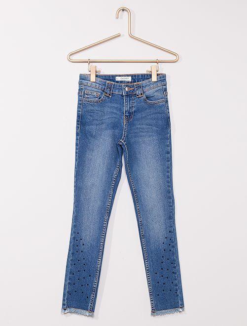 Jean skinny avec strass                                         bleu