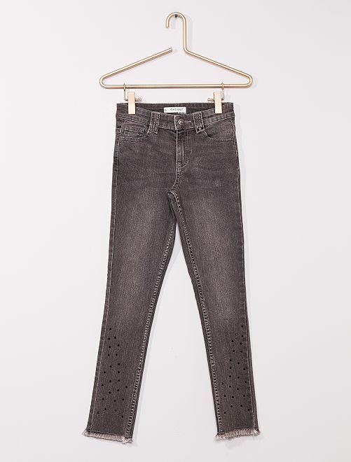 Jean skinny avec strass                                                     gris