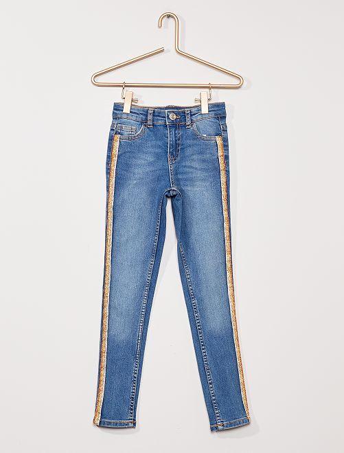 Jean skinny bandes pailletées                                                     BLEU